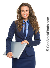 Portrait of smiling business woman with laptop