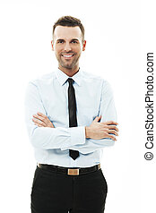 Portrait of smiling businessman with arms crossed