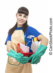 Portrait of Smiling Caucasian Cleaner Woman With Lots of Cleaning Accessories. Vertical Image. Isolated on White
