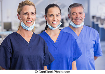 Portrait of smiling co-workers standing in a line in dental ...