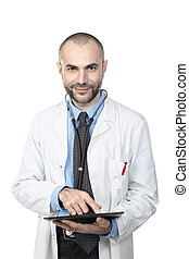 Portrait of smiling doctor with a tablet.