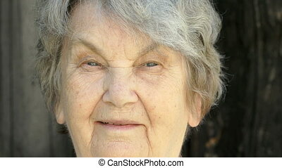 Portrait of smiling elderly woman in glasses