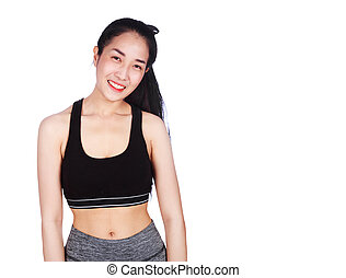 Portrait of smiling fitness young woman isolated on white background
