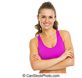 Portrait of smiling fitness young woman