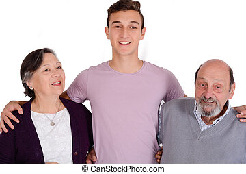 Portrait of smiling grandson with his grandparents