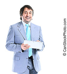 Portrait of smiling handsome businessman with a tablet in hands