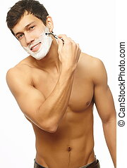 Portrait of smiling handsome successful shaving man isolated...