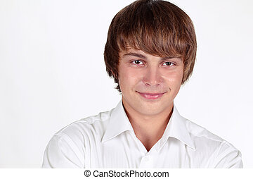 Portrait of smiling handsome young man, student