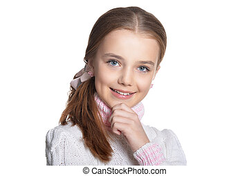 Portrait of smiling little girl isolated on white background
