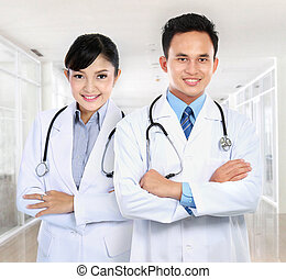 male and female medical doctor