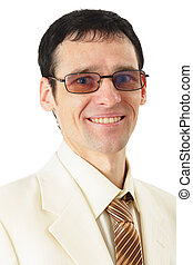 Portrait of smiling man in suit on a white background