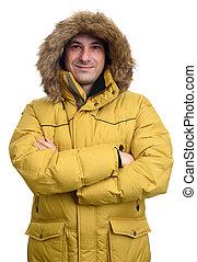 portrait of smiling man in winter coat