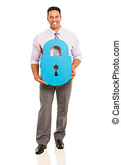 middle aged man with paper lock