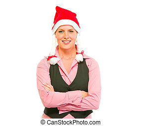 Portrait of smiling modern business woman in Santa Hat