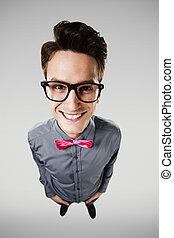 Portrait of smiling nerd