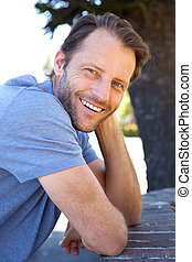 smiling older male fashion model
