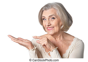 senior woman pointing