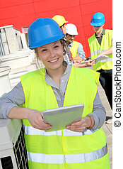Portrait of smiling student girl in professional training