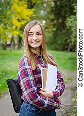 Portrait of smiling university student