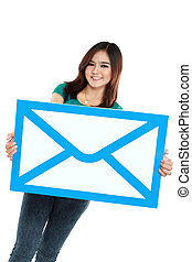 Portrait of smiling woman holding envelope sign