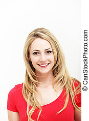 Portrait of smiling woman in red shirt