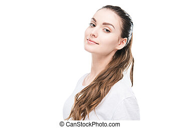 portrait of smiling woman looking at camera isolated on white