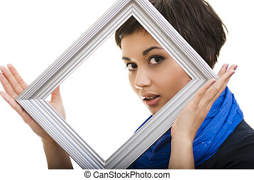 Portrait of smiling woman with frame