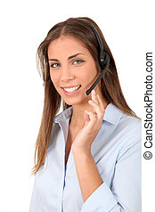 Portrait of smiling woman with headset on