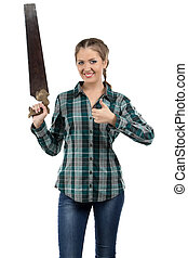 Portrait of smiling woman with the hand saw
