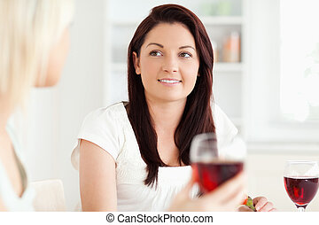 Portrait of smiling Women drinking wine