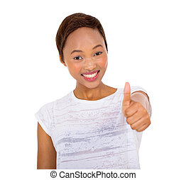 young african woman giving thumb up