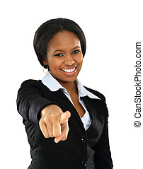 Portrait of smiling young afroamerican woman pointing on you on white background