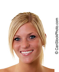 Portrait of smiling young blond woman blue eyes