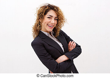 smiling young business woman against white background