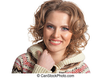 Portrait of smiling young woman on white background