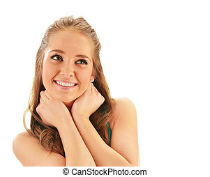 Portrait of smiling young woman watching up isolated on white