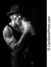 Portrait of smoking man