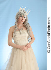 snow queen with grey hair - portrait of snow queen with grey...