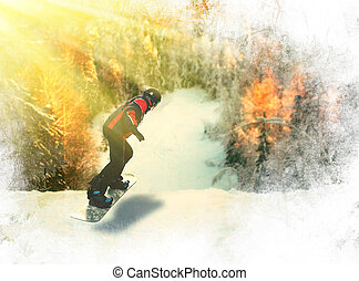 Portrait of snowboarder doing extreme trick.
