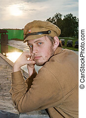 Portrait of soldier in retro style picture - Portrait of...