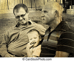 portrait of son, father and grandfather. Photo in old color image style.