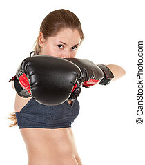 sports girl with boxing gloves - portrait of sports girl...