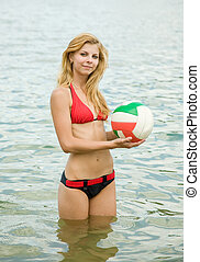 y girl with ball in sea