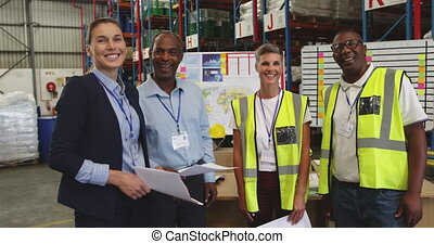 Portrait of staff in a warehouse 4k - Portrait close up of a...