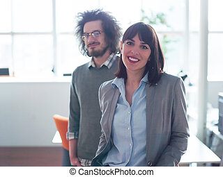 startup business couple in a modern office
