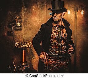 Portrait of steampunk man with various mechanical devices on...