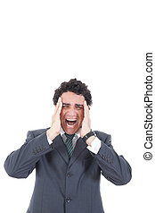 Portrait of stressed businessman screaming in pain and having he