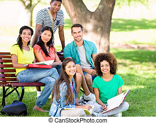 Portrait of students studying at campus