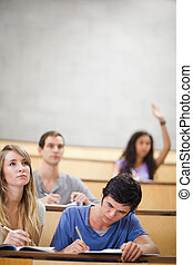 Portrait of students taking notes while their classmate is raising her hand in an amphitheater