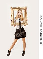 Portrait of stunning blonde beauty